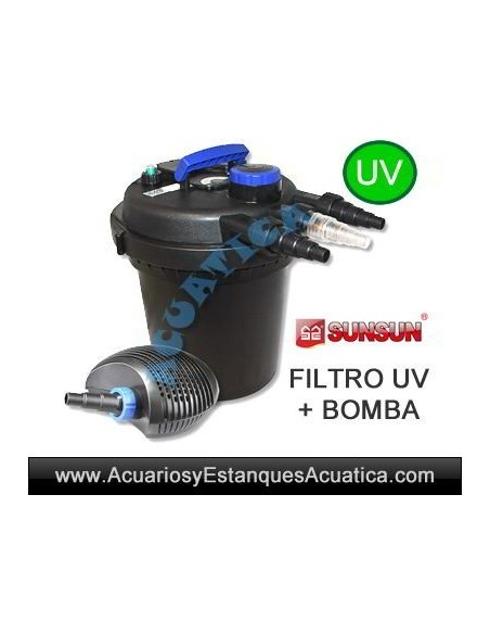 SET FILTRO PRESION UV 11W BOMBA ESTANQUES 6000